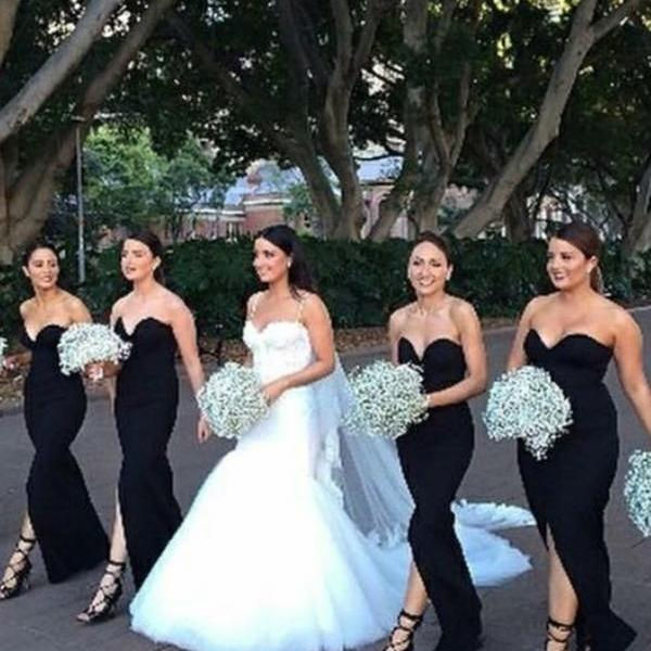 Long Party Dress, Backless Bridesmaid Dresses, Bridesmaid Dresses Black, Party Dress Mermaid BOHO429387