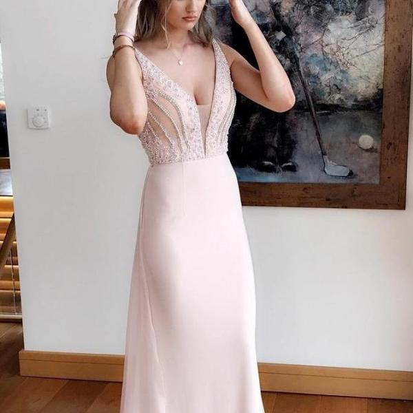 Pink Prom Dress, Prom Dress 2018, V Neck Prom Dress, Prom Dress Chiffon BOHO429812