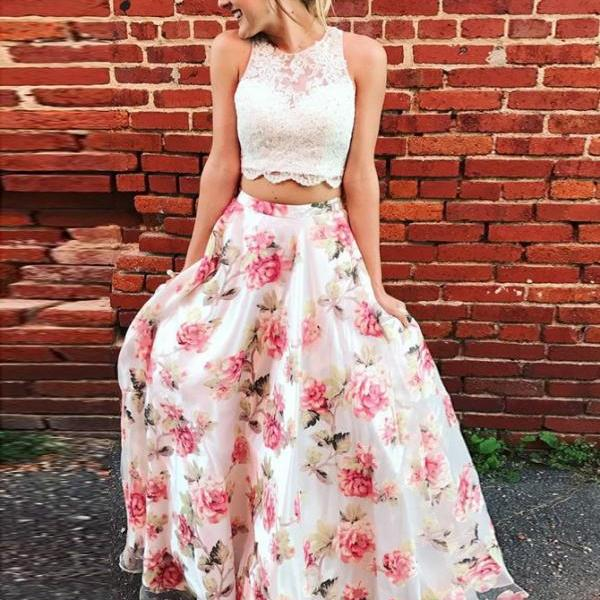 2018 Prom Dress, Two Pieces Prom Dress, Prom Dress With Appliques BOHO429815