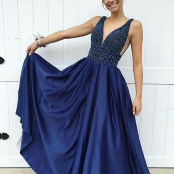 2018 Prom Dresses, Prom Dresses Blue, Prom Dresses With Appliques, Dark Blue Prom Dresses BOHO429953