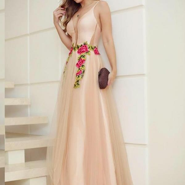 Prom Dress A-Line, Champagne Prom Dress, Prom Dress Long, V-Neck Prom Dress BOHO429954