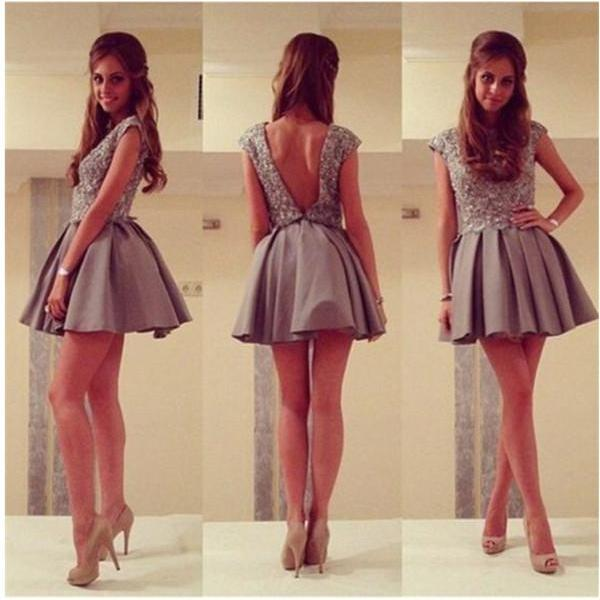 Mini Length Prom Gown,Grey Homecoming Gowns,Open Back Party Dress,Sequined Prom Dresses,Cute Homecoming Dresses