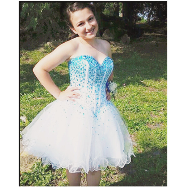 White Homecoming Dresses,Sparkle Glitter Homecoming Gowns,Tulle Sweet 16 Dress,Blue Beading Homecoming Dresses,Tulle Cocktail Dress