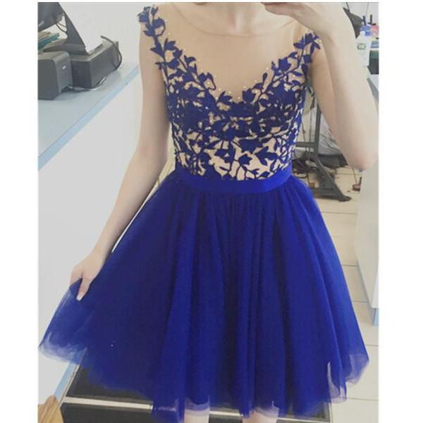 Backless Homecoming Dress,Lace Homecoming Dresses,Royal Blue Prom Dress,Tulle Short Prom Dress,Homecoming Gowns