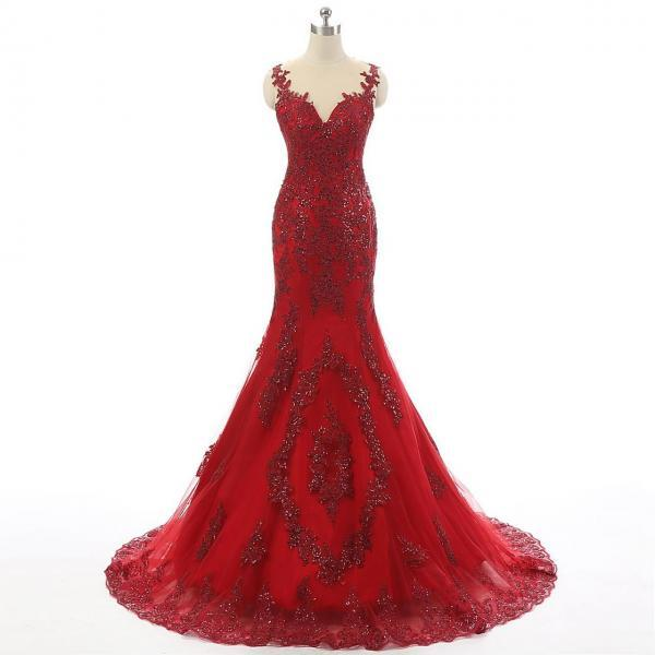 2017 Red Tulle Lace Rhinestone Luxury Real Made Long Prom Dresses, PD0255