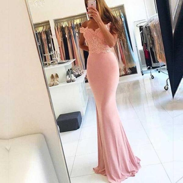 Pretty Off Shoulder Lace Beaded Long Mermaid Jersey Prom Bridesmaid Dresses, PD0251