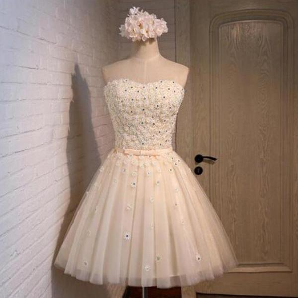 New Arrival Lace Beaded Homecoming Dress, Cute Short Prom Dress