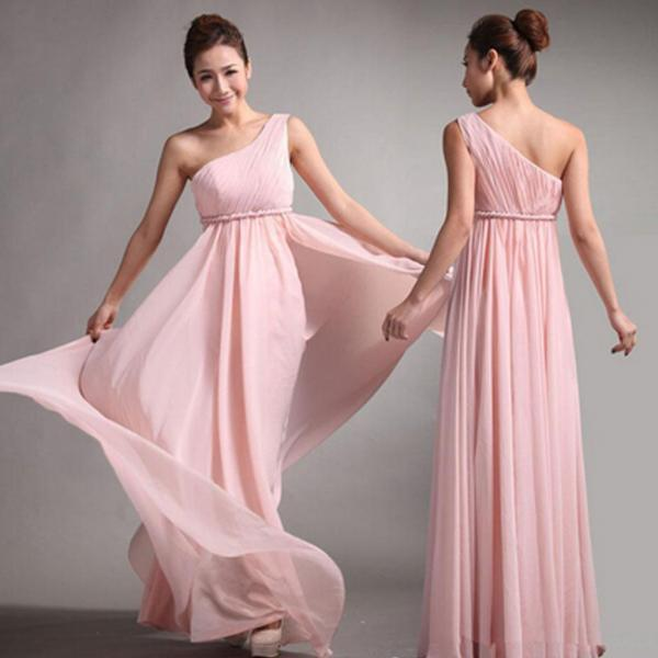Popular Junior One Shoulder Pink Chiffon Simple Cheap Long Pleating Wedding Party Dress Hot Sale Bridesmaid Dresses, WG49
