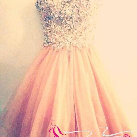Blush Pink Short Prom Gown Lovely Ball Gown Beaded Tight Bodice Homecoming Dresses Sparkly Cocktails