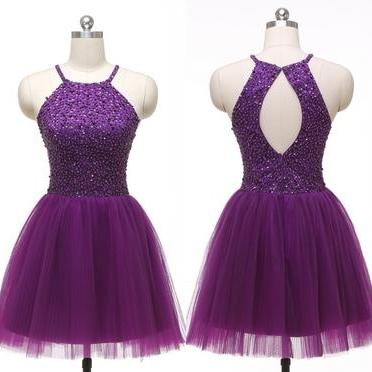 Halter Purple Tulle Beadings Short Homecoming Dresses,Bodice Back O Mini Length Prom Dresses,Cheap Evening Party Gowns,Cocktail Dress