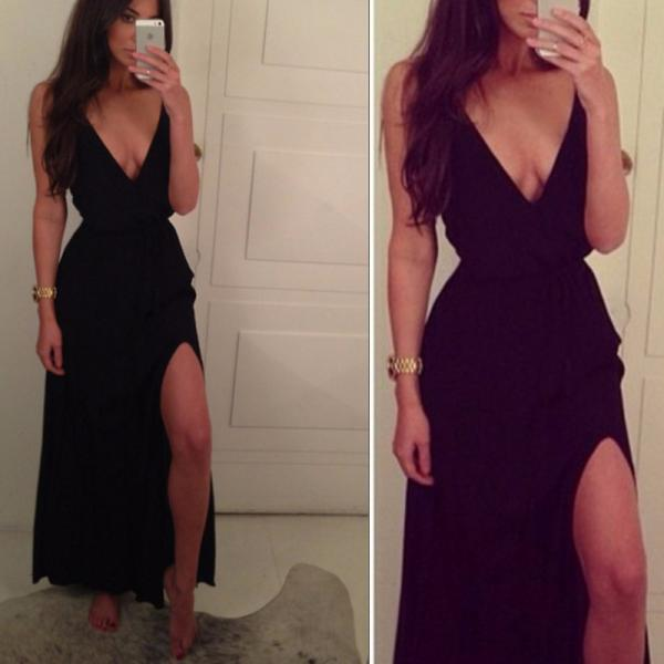 Sexy A line Spaghetti Strap Black With Slit Side Chiffon Long Evening Dress
