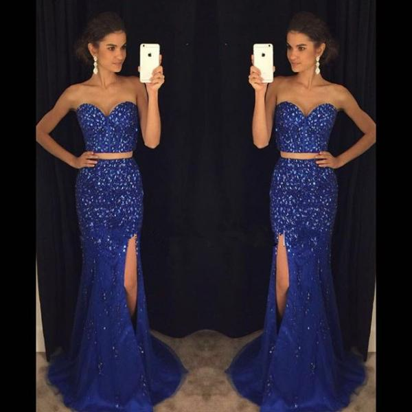 Hot Sales 2 Pieces Mermaid Prom Dress,Two Pieces Royal Blue Evening Prom Dresses,Front Slit Evening Party Gowns Graduation Dress