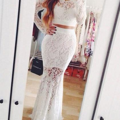 New 2 Pieces Mermaid Scoop Long Sleeve Lace White Prom Dress/Evening Gowns