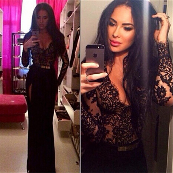 2017 Sexy Sheath V neck Long Sleeve With Split Side Black Lace Prom Dresses Evening Dress