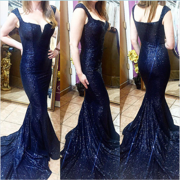 New Navy Blue Sequin Mermaid Prom Dresses Evening Gowns,Off the Shoulder V Neck Chapel Train Prom Gown Evening Dress Dark Blue Women Party Dresses