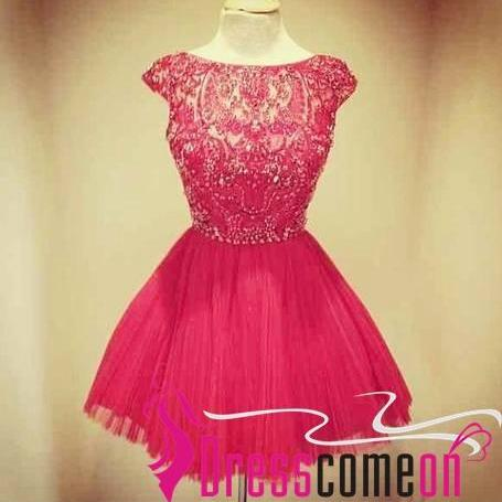 Ball Gown Scoop Cap Sleeved Beaded Red Tulle Cocktail Dress/Short Prom Dress
