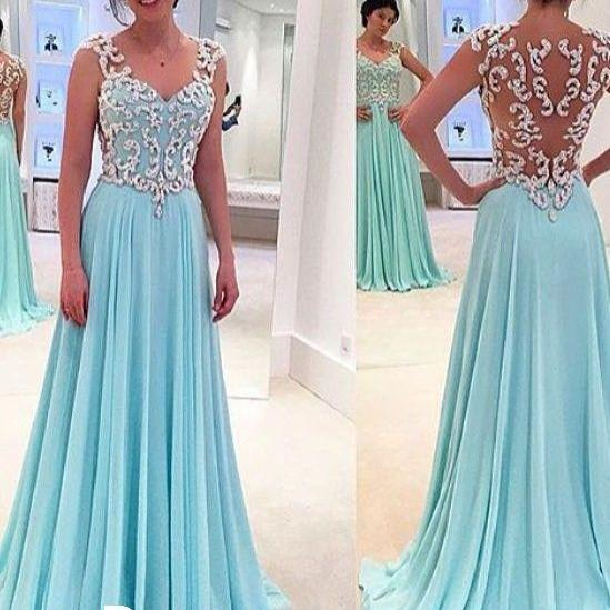 New design white lace sky blue long prom dresses,a line princess cheap prom dress uk,see through back evening gowns,women dresses