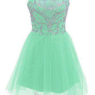 Short Mint Prom Dresses 2017 New Style A Line Silver Beads Spakle Tulle Homecoming Dress For Teens