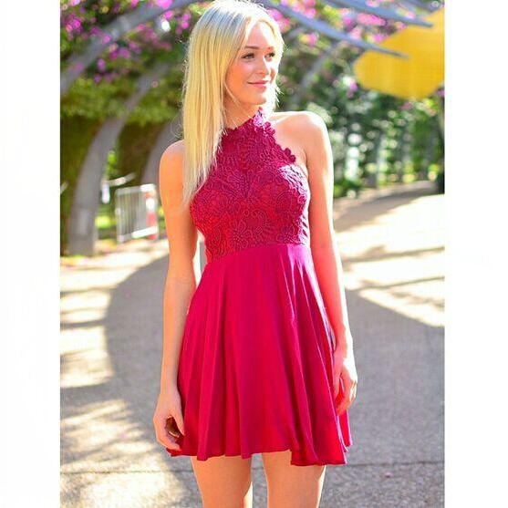 High Neck Hot Pink Lace Chiffon Short Prom Dresses,Bodice Cheap Homecoming Dresses,Red Mini Length Wedding Party Dress