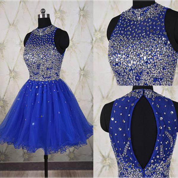 Hot Sales Rhinestones Royal Blue Short Prom Gown Homecoming Dresses,High Neck Back-O Mini Length Party Dress,Homecoming Dress 2017
