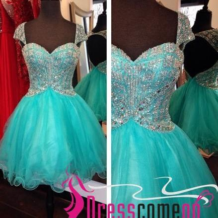 Luxury Ball Gown Straps Cap Sleeved Backless Blue Tulle Short Prom Dress