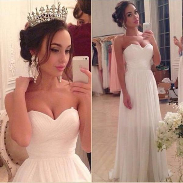 Cheap A line Sweetheart Long Lace White Wedding Dress, Empire Waist Pregnant Wedding Gown Dresses,White Prom Dresses