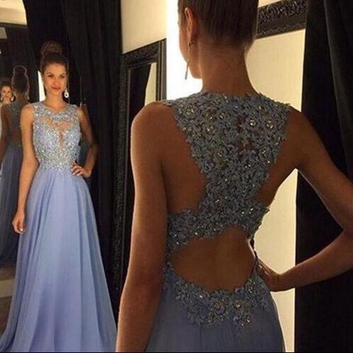 Lace open back prom dress, sexy blue prom dress, chiffon prom dress, cheap prom dress 2017, prom dresses online, 15223