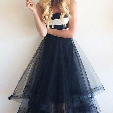 Elegant White Navy Blue High Low Prom Dresses,Strapless Tiered Tulle Skirt Evening Prom Gowns,Prom Dress 2017,Simple Graduation Dresses