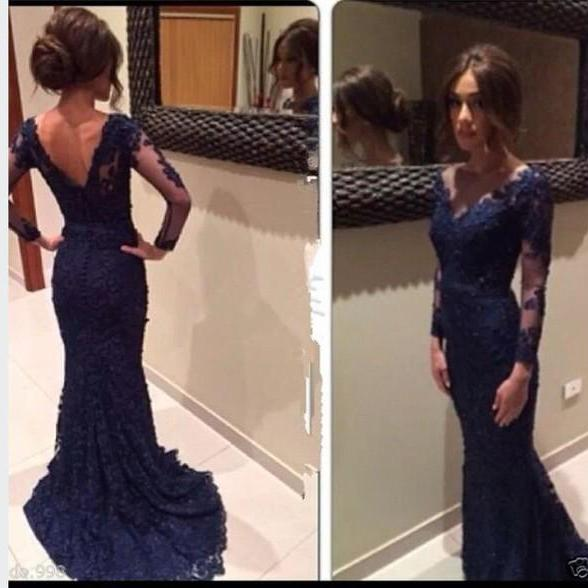 New Mermaid V neck Long Sleeves Navy Blue Lace Prom Dresses Evening Gowns,Back V Long Evening Prom Dress Mother of the Bride Dresses