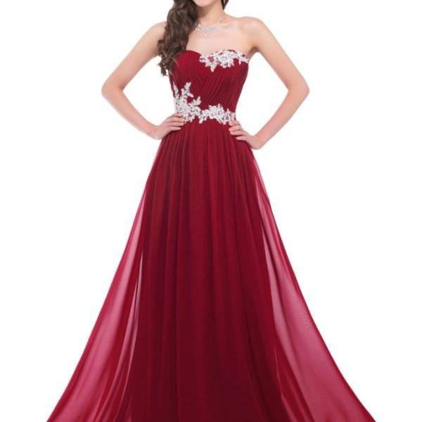 Hot Sales Burgundy Prom Dress,A line Chiffon Empire Waist Evening Gowns,White Lace Wine Red Long Prom Dresses,Graduation Dress