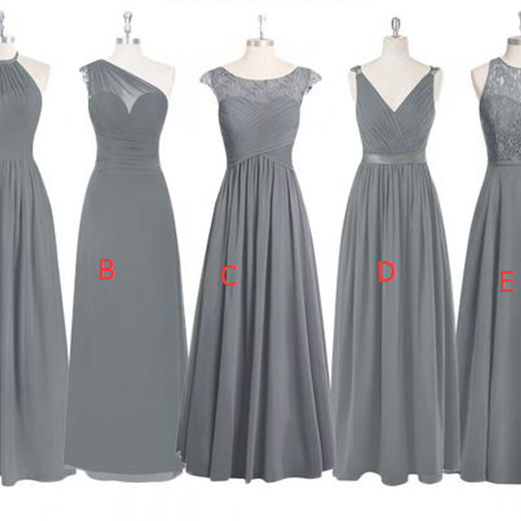 Grey Lace Bridesmaid Dresses,Mismatched Bridesmaid Dress,Custom Long Bridesmaid Dresses With Different Styles,Cap Sleeves Bridesmaid Dress