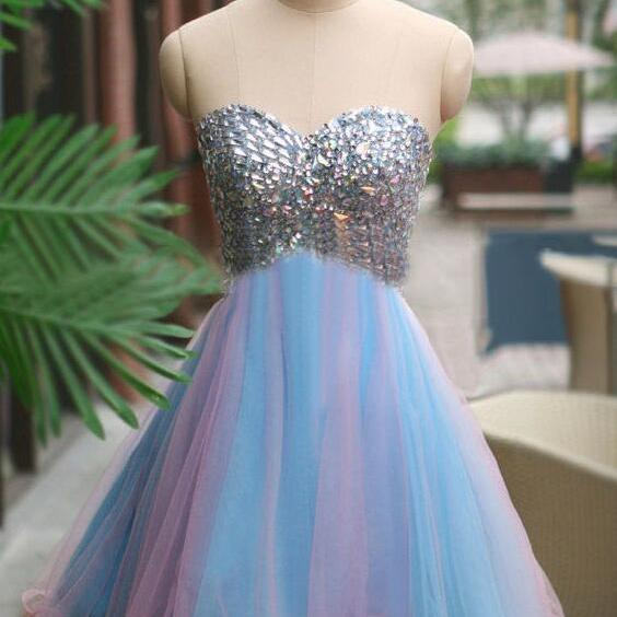 Tulle homecoming dress, rhinestone homecoming dress, short homecoming dresses, 2017 homecoming dresses, prom dresses, 16110