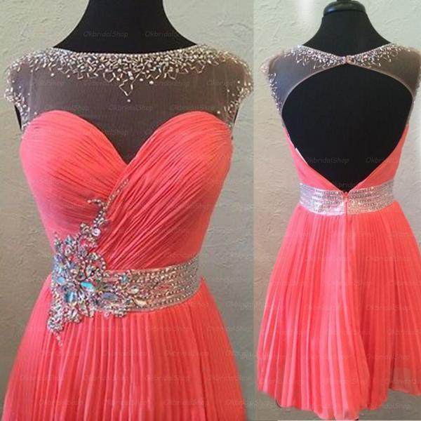 coral backless prom dresses, coral prom dress, 2017 prom dress, short prom dresses, prom dress online, sexy prom dress, 16107