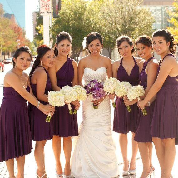 Purple Bridesmaid Dress - Convertible Infinity Wrap
