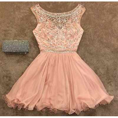 Beaded Homecoming dress, See through prom dress, Short chiffon prom dress, cute prom dress, cheap prom dresses, 16159