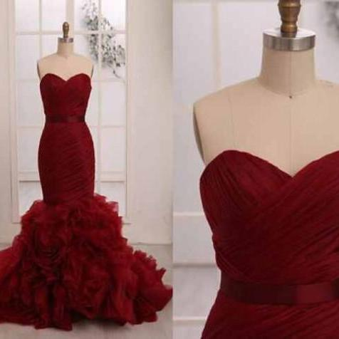 Mermaid Long prom dress, Red prom dress, Prom dress 2017, Online prom dress,PD380084