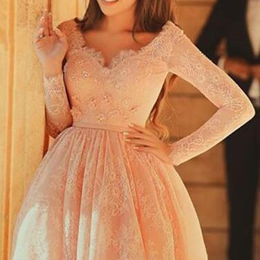 Long sleeve lace homecoming dress, Lace short prom dress, Cute homecoming dress, 20.16 prom dresses, Lace prom dress, 16216