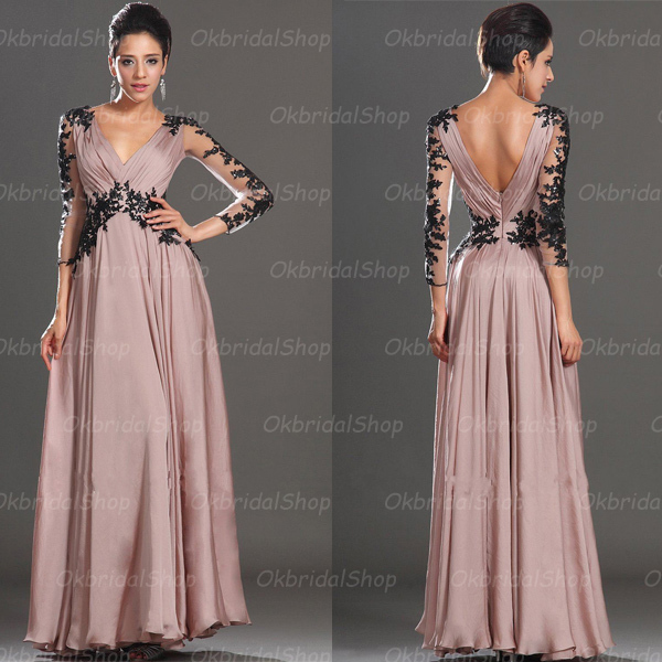 Custom Made Dusty Pink V-Neckline Chiffon Prom Dress with Lace Applique Long Sleeves
