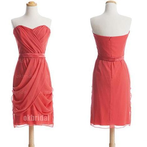 coral bridesmaid dresses, short bridesmaid dresses, simple bridesmaid dresses, custom bridesmaid dress, cheap bridesmaid dresses, 16389
