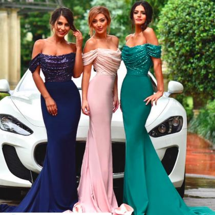 Off shoulder bridesmaid dresses, Sequin Mermaid bridesmaid dresses, Sexy Long bridesmaid dresses, Cheap bridesmaid dresses, bridesmaid dresses, 17008