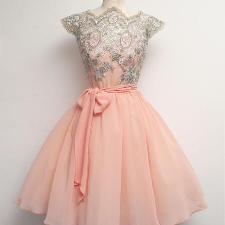 Pink prom dress,Custom prom dress,Lace Prom Dresses, Short Pink Dresses For Prom,cute prom dress,prom dresses,15051317