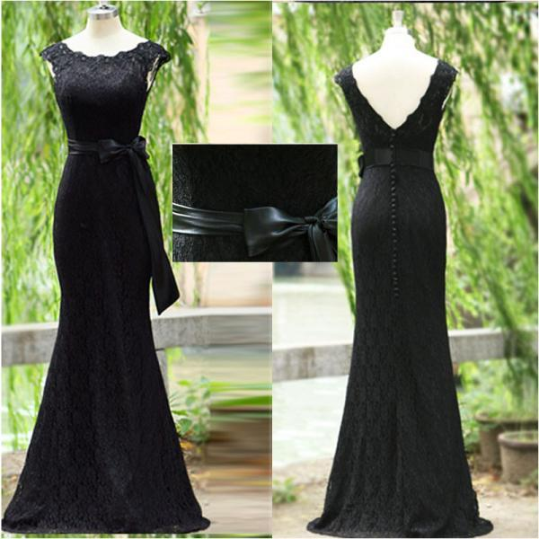 Black Lace Prom Dress Exquisite Mermaid Trumpet Scoop Neck Ribbon Backless Long Evening Prom Gowns