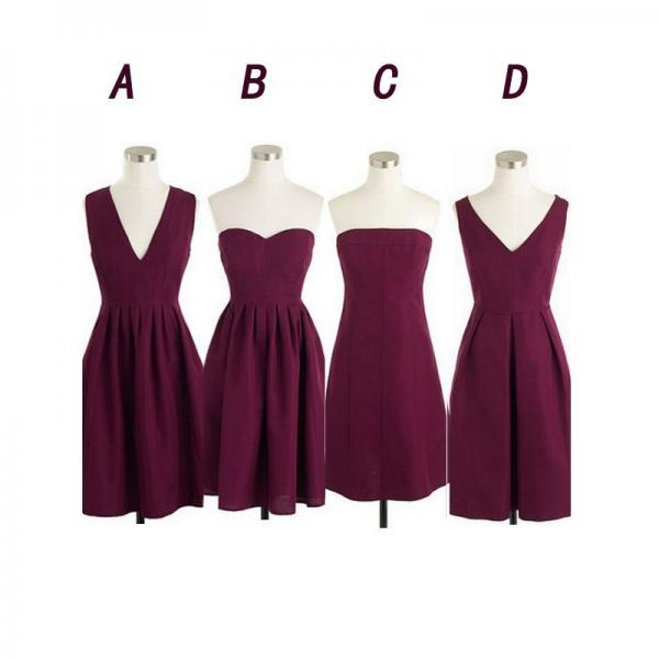 Maroon bridesmaid dresses, short bridesmaid dresses, cheap bridesmaid dresses, chiffon bridesmaid dresses, custom bridesmaid dresses, 17123