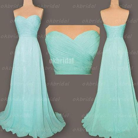 Tiffany blue bridesmaid dresses, cheap bridesmaid dresses, chiffon bridesmaid dresses,long bridesmaid dress, Custom bridesmaid dresses, 17128