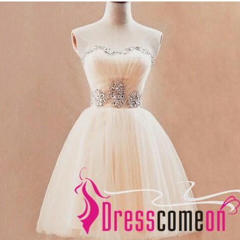 Ball Gown Ivory Homecoming Dress Strapless Beaded Short Party Prom Gowns For Teens Girls Dresses