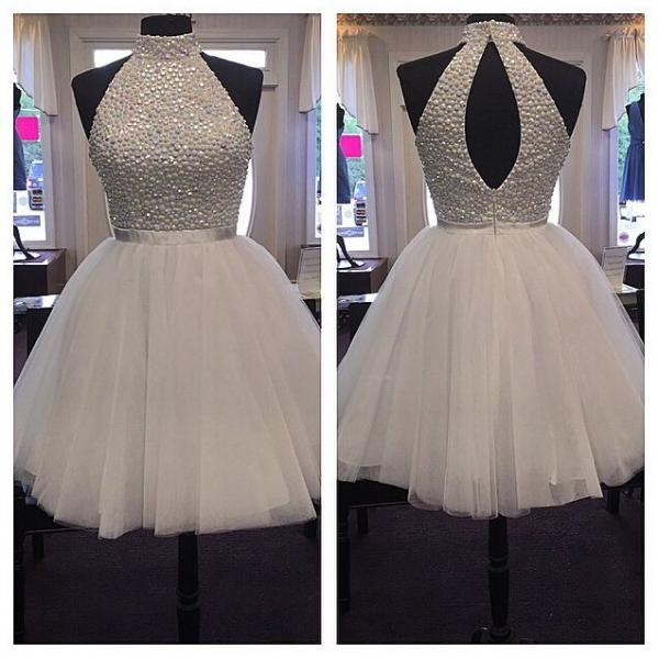 New Arrival Colors Beaded High Neck Short Prom Dresses Homecoming Dress,Back O Bodice White Prom Gown,Graduation Dress Cocktail Party Gowns
