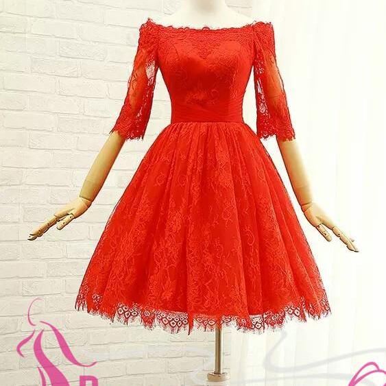 New Arrival Red Lace Homecoming Dresses Half Sleeves Short Prom Dresses Cheap Party Gowns Graduation Dress
