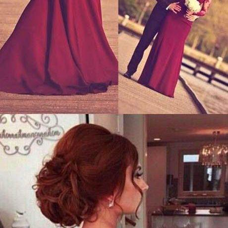 Mermaid Long Sleeves Burgundy Prom Dress With Lace Appliques Long Formal Gown Sexy Evening Dress