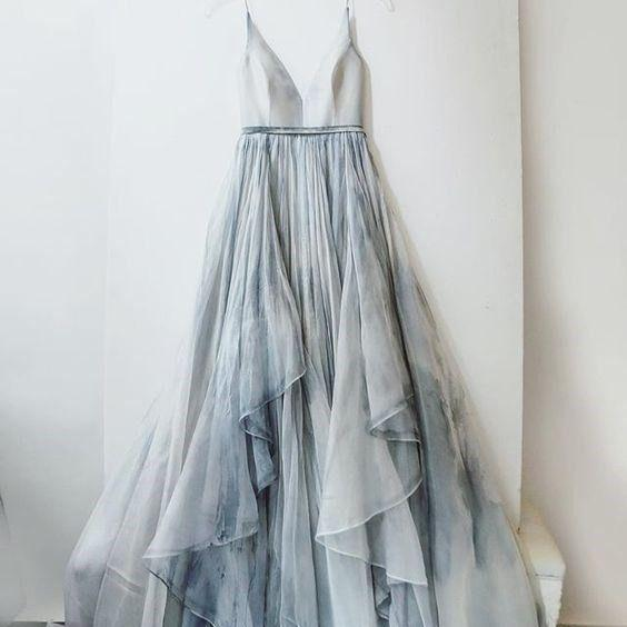 New Prom Dresses Long Spaghetti Straps Simple V Neck Tulle cheap Pretty Party Prom Dresses ,Bridal gowns For Teens