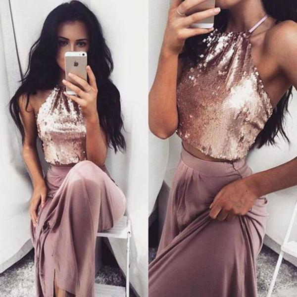 Sexy Two Pieces Sequin Evening Prom Dresses, Long Party Prom Dress, Custom Long Prom Dresses, Cheap Formal Prom Dresses, 17044